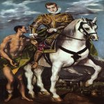 El Greco (1541-1614)  St. Martin and the Beggar  Oil on canvas, 1597-1599  75 1/8 x 38 1/2 inches (191 x 98 cm)  National Gallery of Art, Washington, DC, USA